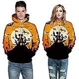 Men Women Mode 3D Print Autumn Winter Casual Long Sleeve Halloween Couples Hoodies Top Blouse Shirts Outwear (XL, Yellow)