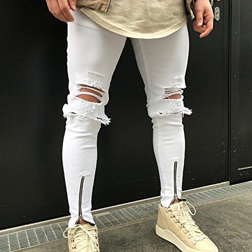 de Agujero Fit agujeros cómodos Stretch 5 Skinny pantalones Hibote Hombre colores Jeans Jeans 28 Jeans Blanco elásticos mezclilla Jeans Denim 38 Slim destruidos qzEvC1