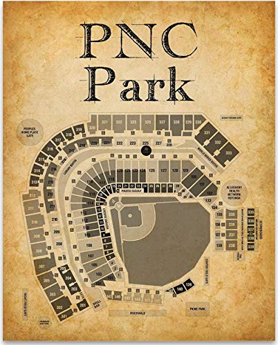 PNC Park Stadium Baseball Seating Chart Art Print - 11x14 Unframed Art Print - Great Sports Bar Decor and Gift Under $15 for Baseball Fans