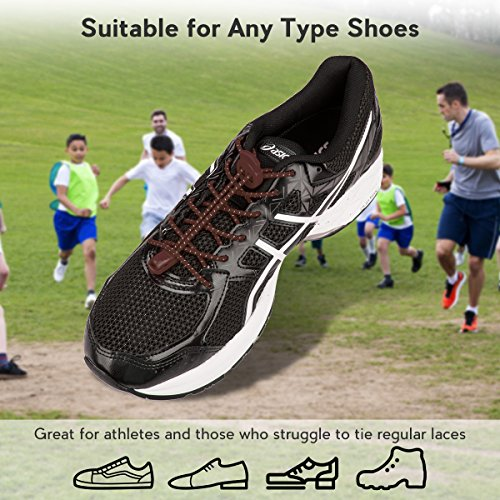 Reflective Laces Adults 3 Pairs Quick Climbing Hiking System Kids Elastic Shoelaces Running Shoes Tie Running for Brown for Lock No with Shoe Lacing and xvISrZvwq