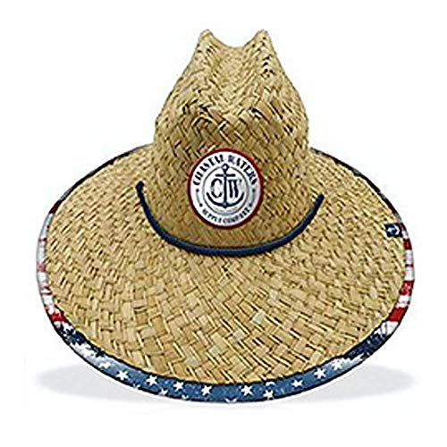 Coastal Waters Supply Company USA Print Straw Lifeguard Sun - Red Hat Straw Gambler