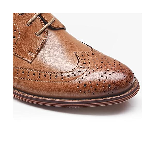 Odema Women's Leather Oxfords Perforated Lace-up Wingtip Low Heel Carving Brogue Dress Shoes
