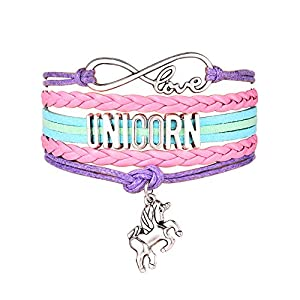 JunXin Cute Unicorn Bracelet Wristband Handmade Rainbow Jewelry Infinity Love Charm Gifts Birthday Gift Best Friends