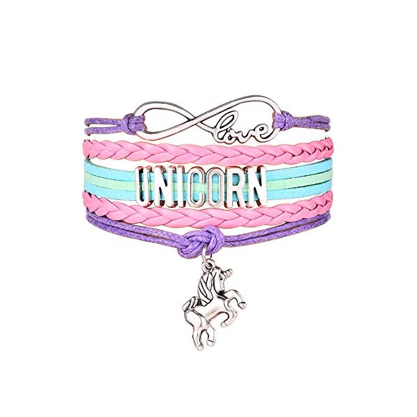 JunXin Cute Unicorn Bracelet Wristband Handmade Rainbow Jewelry Infinity Love Charm Gifts Birthday Gift Best Friends 3