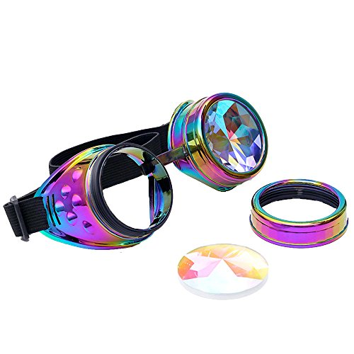 Kaleidoscope Rave Goggles Steampunk Glasses with Rainbow Crystal Glass Lens ()