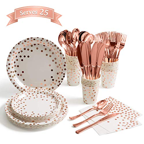 Decostyle 200 Piece Gold Dot Paper Plates Party Supplies, Disposable dinnerware, Napkins, Cups, Straws, Knives, Spoons…