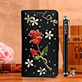 Locaa(TM) For Acer Liquid Jade Primo New Case Cover Back Leather Design 3D Bling Wallet Flip Fashion Protector Soft Stand Luxury Girl Colorful Moblie Diamond Rose Black Red Rose