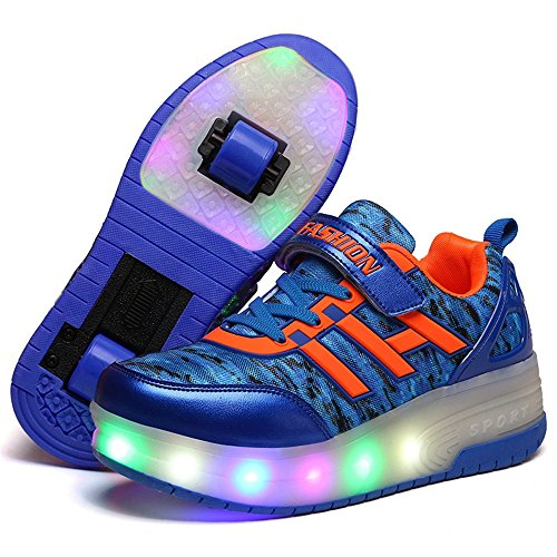 Fancyww Shoe Light Up Boys Girls Kids Party Sneakers LED Trainers Causal Skate Shoes Festival Gift(Blue 2wheels 30/12 M US Little Kid)