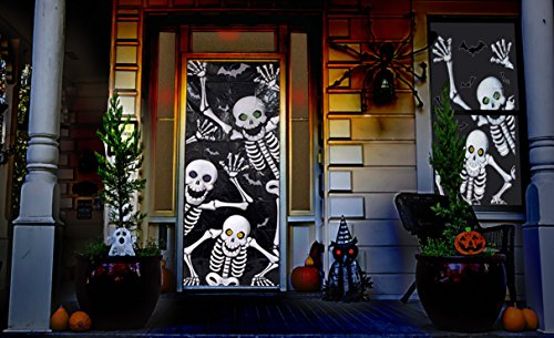 Halloween Haunted House Decorations - Skeleton Door & Window Covers (2 Piece Set) - By Retail Parity