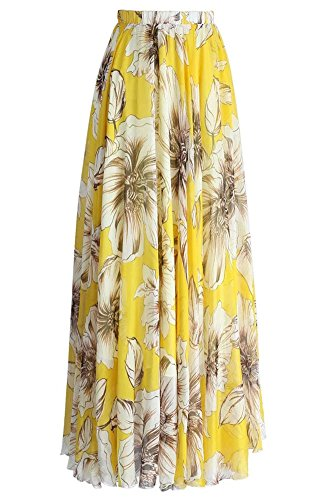 Grace Elbe Women's Summer Boho Floral Print Pleated Chiffon Long Maxi Skirt Dress Yellow1 Medium