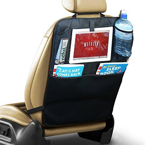 PrimeFolksCo. Luxus Autositz-Rückenlehnenschutz mit iPad-/Tablet-Halter - Kickmatte - Auto-Organisator (1)