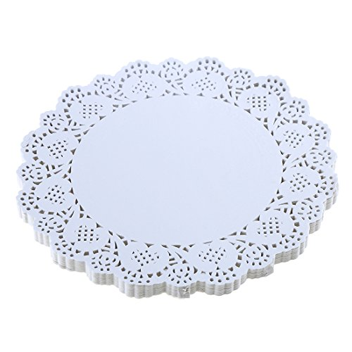 DECORA 10.5inch Round Lace Flower Paper Doilies Placemat for DIY Paper Crafts/Wedding (Round White Doily)