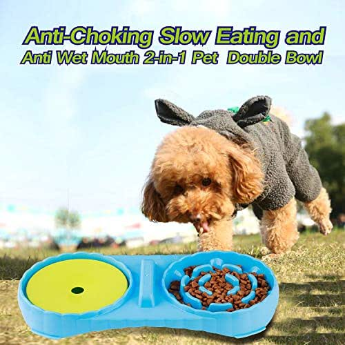 JUSTPET Anti Wet Mouth Slow Drink Pet Water Bowl, Anti Choke Slow Feeder Interactive Bloat Stop Dog Bowl, 2 in 1 Pet Double Bowl for Dogs Cats (Blue)