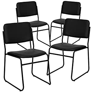 Flash Furniture 4 Pk. HERCULES Series 1000 lb. Capacity High Density Black Vinyl Stacking Chair with Sled Base