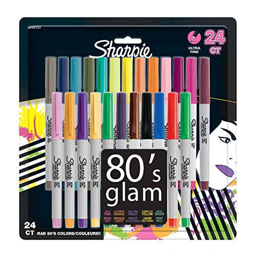 Sharpie Permanent Markers, Ultra-Fine Point, 80s Glam Colors, 24 Pack ()