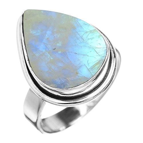 5.10ctw, Genuine Rainbow Moonstone 10x14mm Pear & .925 Silver Overlay Handmade Fashion Rings