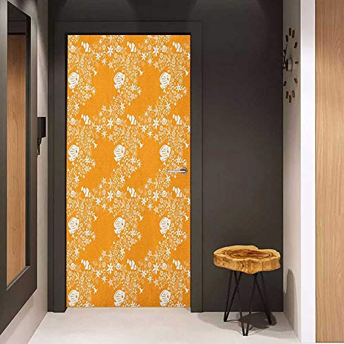 Soliciting Sticker for Door Orange Tropical Fishes Sea Stars Stylized Cute Blossoms and Leaves Jellyfish Ocean Marine Mural Wallpaper W31 x H79 Orange White