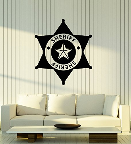 Vinyl Wall Decal Sheriff Badge Police Kids Room Art Stickers Mural Large Decor (ig5108) Black -
