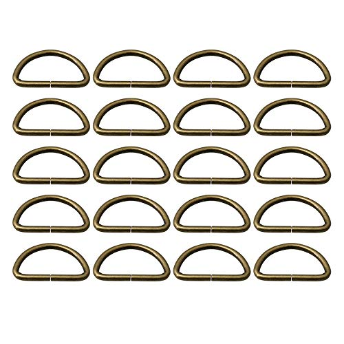 RDEXP 38mm Inner Dia Antique Brass D Ring Webbing Buckles for Backpack Handbag Leather Purse Chain Belts Pack of 20