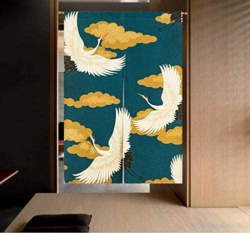 LIGICKY Noren Japanese Style Doorway Curtain Cranes Printed Cotton Linen Window Treatment Door Tapestry for Home Decoration 33.5 Width x 47.2 Long