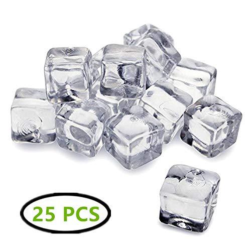 25 cubetti di ghiaccio finti in acrilico trasparente cubetti di ghiaccio artificiali Smallgirl decorazioni per la casa matrimoni espositori per vasi
