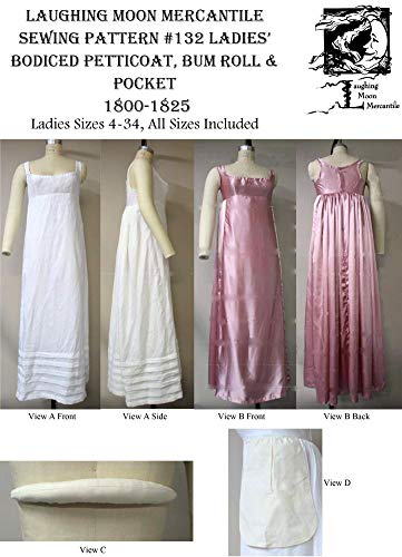 (LM132 - 1800-1825 Regency Bodiced Petticoat & Bum Roll Pattern by Laughing Moon)