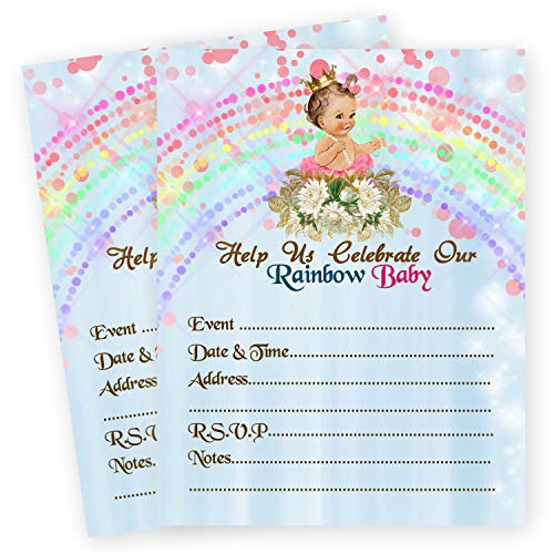 (Baby Blue Rainbow Baby Shower Invitations Miracle Decor Girl Princess Invites Qty 20 with Envelopes)