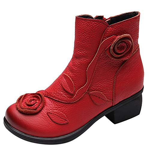 LandFox Leather Retro Boots,Women Ethnic Style Martin Boots Hand-Stitched Flowers Shoes,US:7 Red