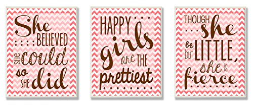 Stupell Home Décor Pink Chevron Inspirational She Believed She Could 3-Pc. Wall Plaque Set, 11 x 0.5 x 15, Proudly Made in USA by The Kids Room by Stupell