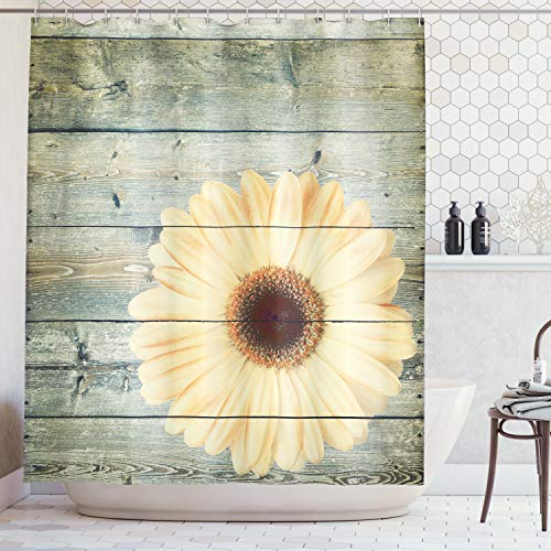 - Lunarable Sunflower Shower Curtain, Rustic Wooden Planks with Sunflower Floral Oak Tree Daisy Gerbera Country, Cloth Fabric Bathroom Decor Set with Hooks, 75 Inches Long, Grey Pale Yellow