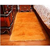 Cheap CHITONE Indoor Furry Fluffy Soft Solid Faux Fur Sheepskin Area Rugs Pads,Livingroom Bedroom Nursery Room Floor Rug Carpet For Home Decorate,Gold,4'X6′