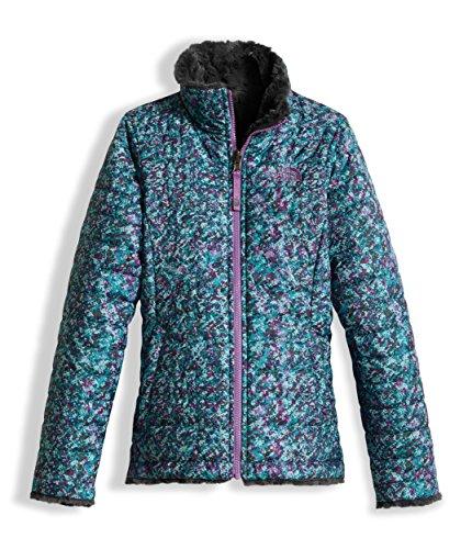 The North Face Girl's Reversible Mossbud Swirl Jacket - Algiers Blue Sponge Print - XL (Past (Reversible Ski Jacket)
