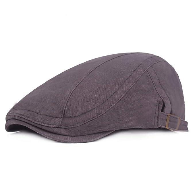 BOZEVON Gorras Planas, algodón, Viajes, tamaño de Viaje, Sombrero Ajustable, Sombrero
