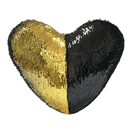 Mermaid Throw Pillow, Two Color Reversible Sequin Heart Shaped Decorative with 1 Pillow Insert, 13''×15'' (Gold & Black) ()
