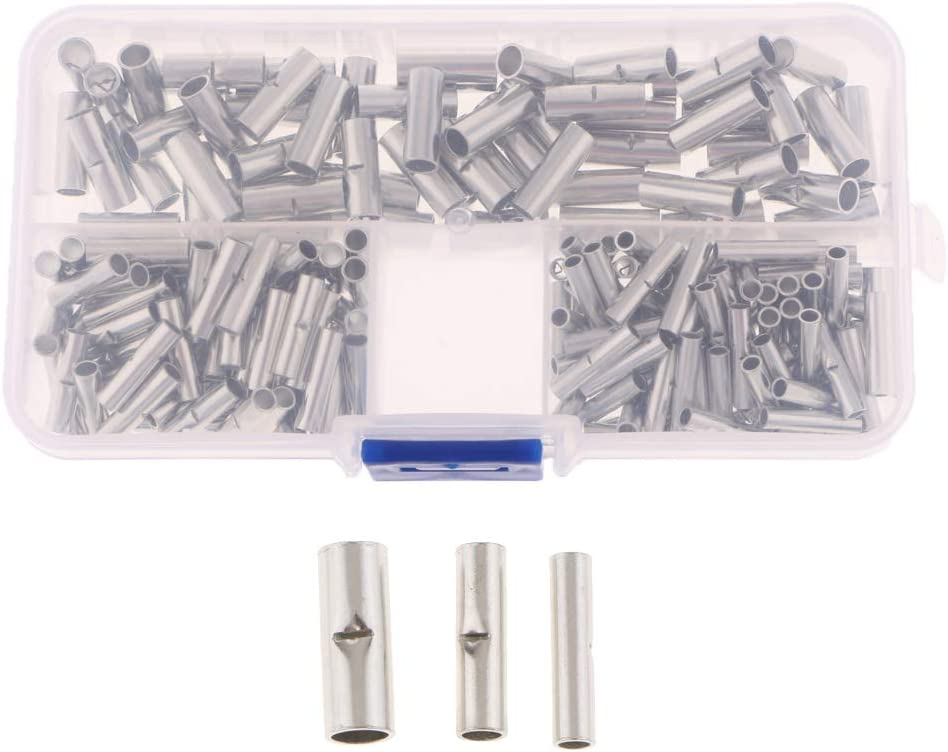 200pcs 22-18 16-12 12-10 Gauge Electrical Wire Seamless Non Insulated Butt Connectors Uninsulated Connectors Crimp Ferrule Terminals