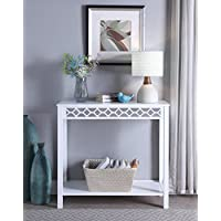White Finish Mirrored Front Side Console Sofa Table with Bottom Shelf