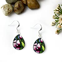 Purple Snapdragon Flower Glass Teardrop Earrings
