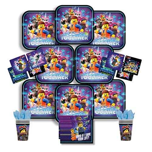 Party Pack Bundle - The Lego Movie 2 Bundle Seats 8: Napkins, Plates, Cups and Stickers - Childrens The Lego Movie 2 Party Supplies]()