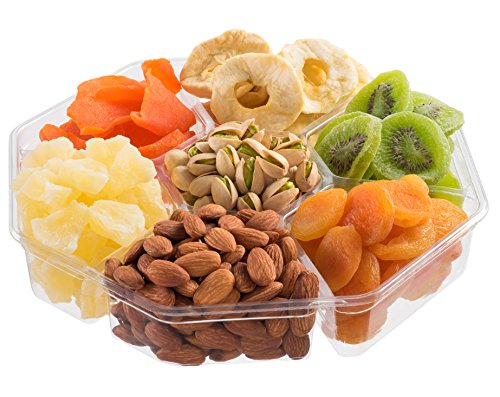 Usa Gift Tower - Nut Cravings Extra-Large Dried Fruit Prime Gift Basket | Variety Of 7-Section Gourmet Assorted Dried Fruit tray | Holiday Gift Assortment For Birthday - Sympathy - Get Well - Corporate Food Gift Box