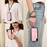 iPhone Xs Max Wallet Case with Lanyard TOOVREN Card Holder Slot Phone Cases Wrist Strap Leather PU Stand Shockproof Bumper Protective Cover for Apple iPhone Xs Max 6.5 inch Pink
