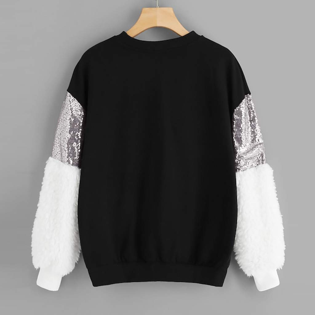 Misaky Womens Long Sleeve Sweatshirt Fashion Sequin Fluffy Pullover O-Neck Top Blouse