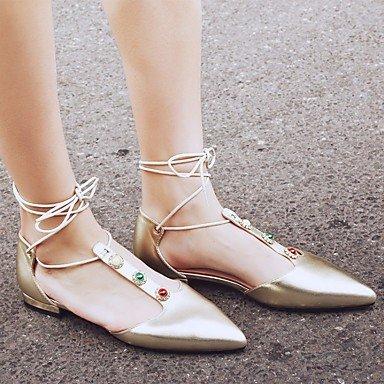 LvYuan sandalias de los zapatos del club primavera verano del zurriago de vestido de tacón bajo informal Gold