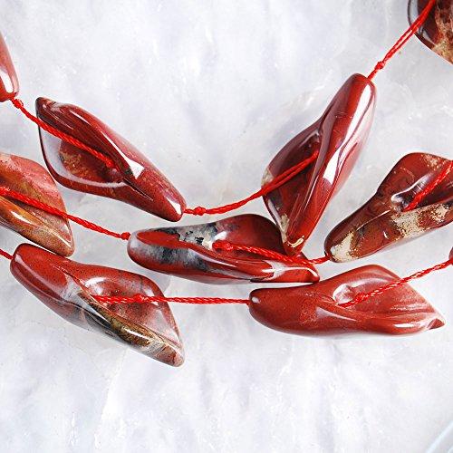 V2031 34x14x9 10Pcs Stripes Red Jasper Freeform Pendant Beads