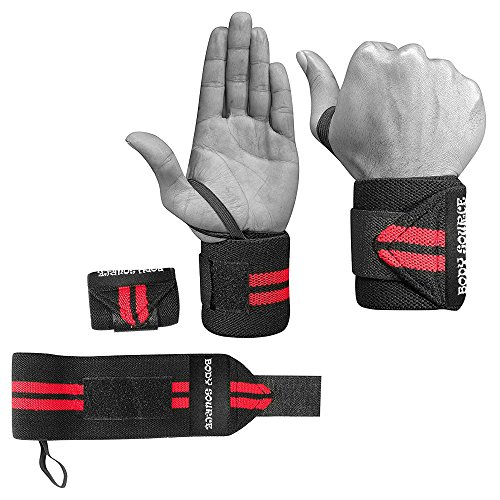 Wrist Wraps (1 Pair/2 Wraps) for Weightlifting/Cross Training/Powerlifting/Bodybuilding - For Women & Men - Premium Quality Equipment for the Absolutely Best Hand Strength & Support (Black/Red)