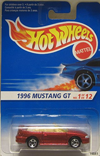Hot Wheels 1996 Mustang GT Convertible 5 Spoke Wheels White and Blue Card 1 of 12