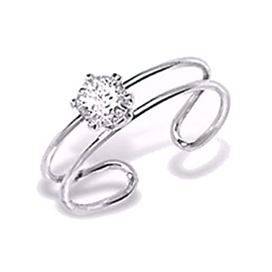 Toe Ring With Cubic Zirconia (CZ) Diamond - Sterling Silver Toe Ring - Double Band For Comfort - Classic Design