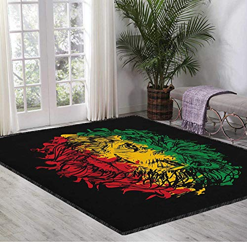 Modern Decorative Carpet Rasta Strong Grip Ethiopian Flag Colors on Grunge Sketchy Lion Head with Black Backdrop Pale Green and Yellow 5X7 Ft