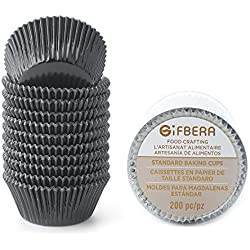 Gifbera Standard Black Foil Cupcake Liners/Baking Cups 200-Count