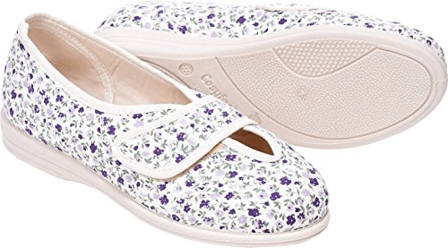 Chaussures 6e Uk extra Beige Fitting M Mélangé Roomy Width Fleurs Coton Euro Larges largeur lilas Sarah Extra Cosyfeet dzIxwqC7C