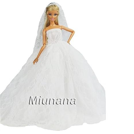 Amazon.es: Miunana 1 Vestido Novia Ropa Vestir Boda + 1 Velo como Regalo para Muñeca Barbie Doll - Blanco: Juguetes y juegos